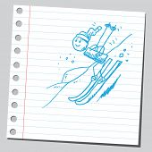Scribble boy skiing