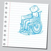 Scribble style illustration of a handicapped man in a wheelchair