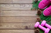 Fitness And Healthy Christmas Sport Composition. Flat Lay Of Sport Shoes, Dumbbells Pine Leaves And  poster