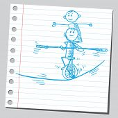 Sketchy illustration of an acrobats on a tightrope