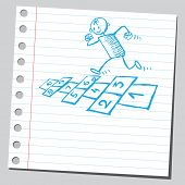 image of hopscotch  - Sketchy illustration of a kid playing hopscotch - JPG