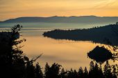Golden Sunrise At Emerald Bay , Lake Tahoe , Northern California Landscape Amazing Bliss Dream Like  poster