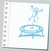 Sketchy illustration of a kid and trampoline
