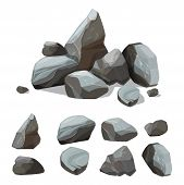 Cartoon Mountain Stones. Rocky Big Wall From Gravels And Boulders Vector Creation Kit With Various C poster