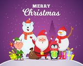 Holiday Winter Background. Christmas Characters Santa Penguin White Arctic Bear Character Snow Wildl poster