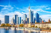 Skyline Cityscape Of Frankfurt, Germany During Sunny Day. Frankfurt Main In A Financial Capital Of E poster