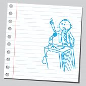 stock photo of politician  - Sketch of a politician speaking - JPG