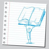 Drawing of a boy holding open book