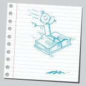 Drawing of a boy flying on a book