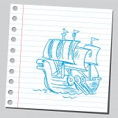 Sketchy illustration of a viking boat