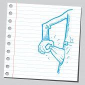 Engraçado desenho de um bolso vazio