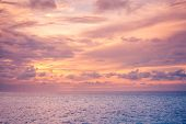 Nature In Twilight Period Which Including Of Sunrise Over The Sea And The Nice Beach. Summer Beach W poster