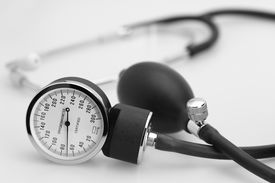 stock photo of medical equipment  - sphygmomanometer stethoscope blood pressure meter medical tool - JPG