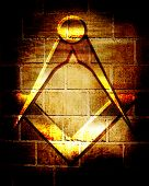 picture of freemason  - Masonic square and compass with some soft highlights - JPG