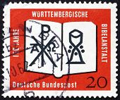 Postage stamp Germany 1962 Open Bible, Chrismon and Chalice