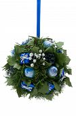Christmas Ornament, Blue And Silver Elements On Green Artificial Foliage Ball, Isolated On White