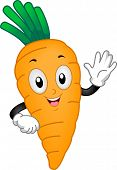Illustration of a Carrot Mascot Waving its Hand