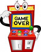 stock photo of arcade  - Illustration of an Arcade Machine with the Words Game Over Displayed on its Monitor - JPG