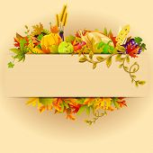 picture of fruit platter  - illustration of Thanksgiving celebration banner with maple leaf - JPG
