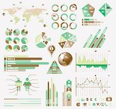 Premium Retro infographics eco  collection: graphs, histograms, arrows, chart, 3D globe, icons and a