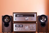 Vintage hi-fi Stereo Amplifier tuner and speakers in wooden cabinets, front