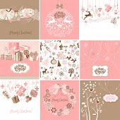 Set of pink and brown Christmas Cards
