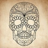 stock photo of day dead skull  - Day of The Dead grungy Skull - JPG