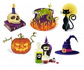 Halloween Icons - Set of six detailed vector Halloween icons, including skull on a spell book, witches cauldron, black cat, carved pumpkin, bottles with potions and witch hat