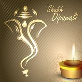 Illustration of Hindu Lord Ganesha with illuminated oil lamp background for Diwali festival in India