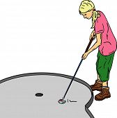 vector - Young girl played mini golf, isolated on background