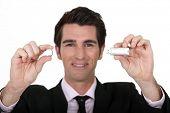 Man holding USB memory stick