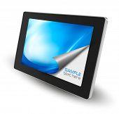 Tablet pc con la página abierta. Vector.