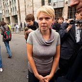 Moskau - 15.09: spricht man den Oppositionsführer Yevgeniya Chirikova bei einer Anti-Putin-Prote