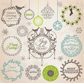 Vector Set: Christmas Calligraphic Design Elements and Page Decoration, Vintage Frames