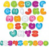 Cartoon Vector Font. Isolated Letters and Numbers for your Design