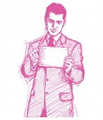 Vector Sketch, comics style man businessman in suit with i pad in his hands