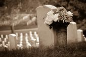 Headstones in Arlington National Cemetery - Washington DC United States - Sepia