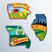 pic of illinois  - Midwest United States Illinois Missouri Iowa vector illustrations designs - JPG