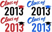 stock photo of senior class  - Class of 2013 graduation celebration announcement caps in red and blue school colors - JPG