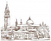 Venice - Island of San Giorgio Maggiore. Vector sketch