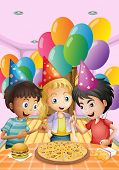 foto of oblong  - Illustration of the kids celebrating a birthday with a pizza - JPG