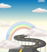 pic of long winding road  - Illustration of a long winding road going to the rainbow - JPG