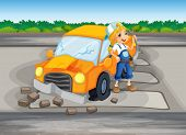 Illustration of a girl repairing the damaged car at the road