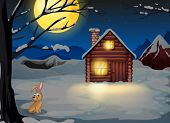 Illustration of a rabbit outside the house in a moonlight scenery