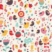 Romantic floral seamless pattern with cute small birds in the garden. Birds in love with retro flowe