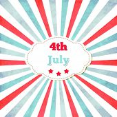 Vintage template for 4th of July with frame,stars and lines