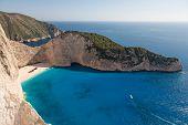beautiful beach with a shipwreck