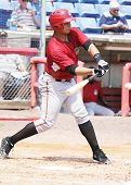 Altoona Curve batter Miguel Perez swings
