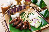 Beef satay, roasted meat skewer Malay food. Traditional Indonesia food. Hot and spicy Indonesian dis