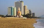 Nha Trang, Vietnam - March 2013: view of the city  beach and hotels.